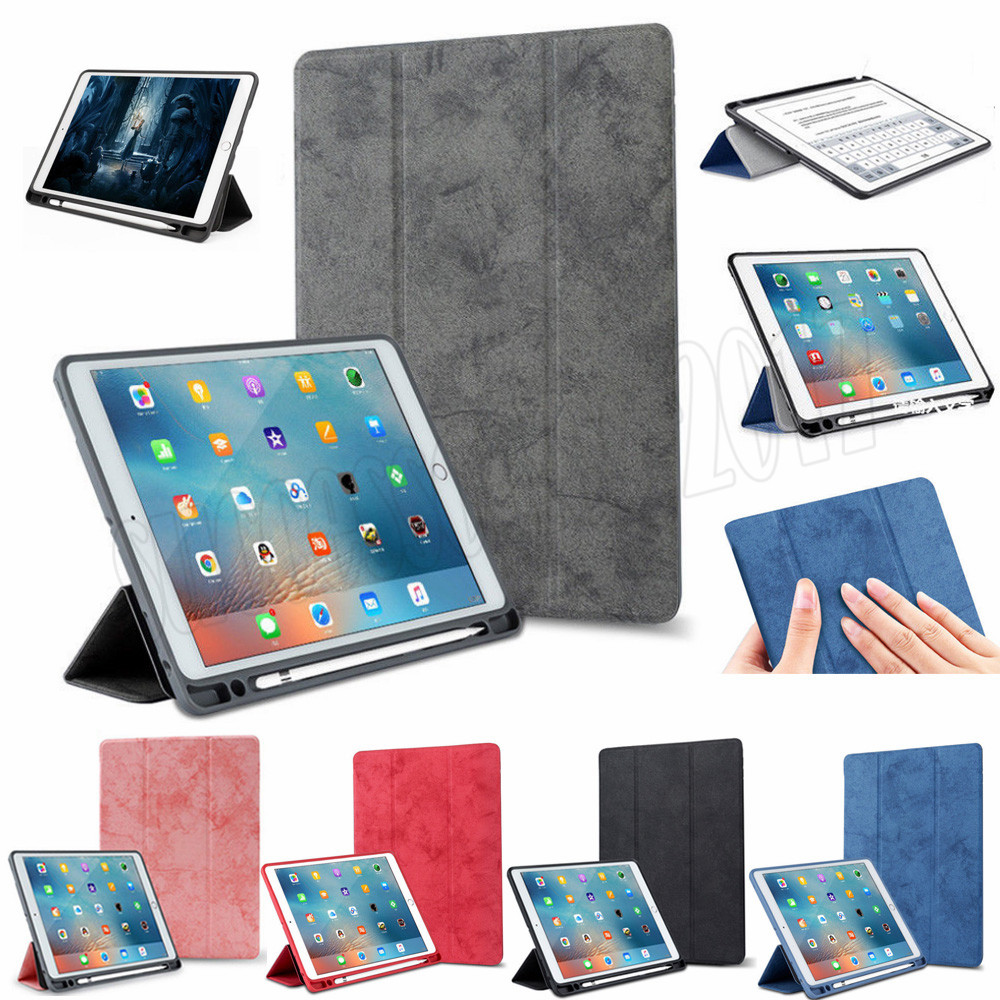 Multicolor Soft Leather Stand Cover Pencil Case For Ipad Ipad Pro 9.7 10.5 12.9 Inch Tablet Fundas Pen Slot Stand Cases