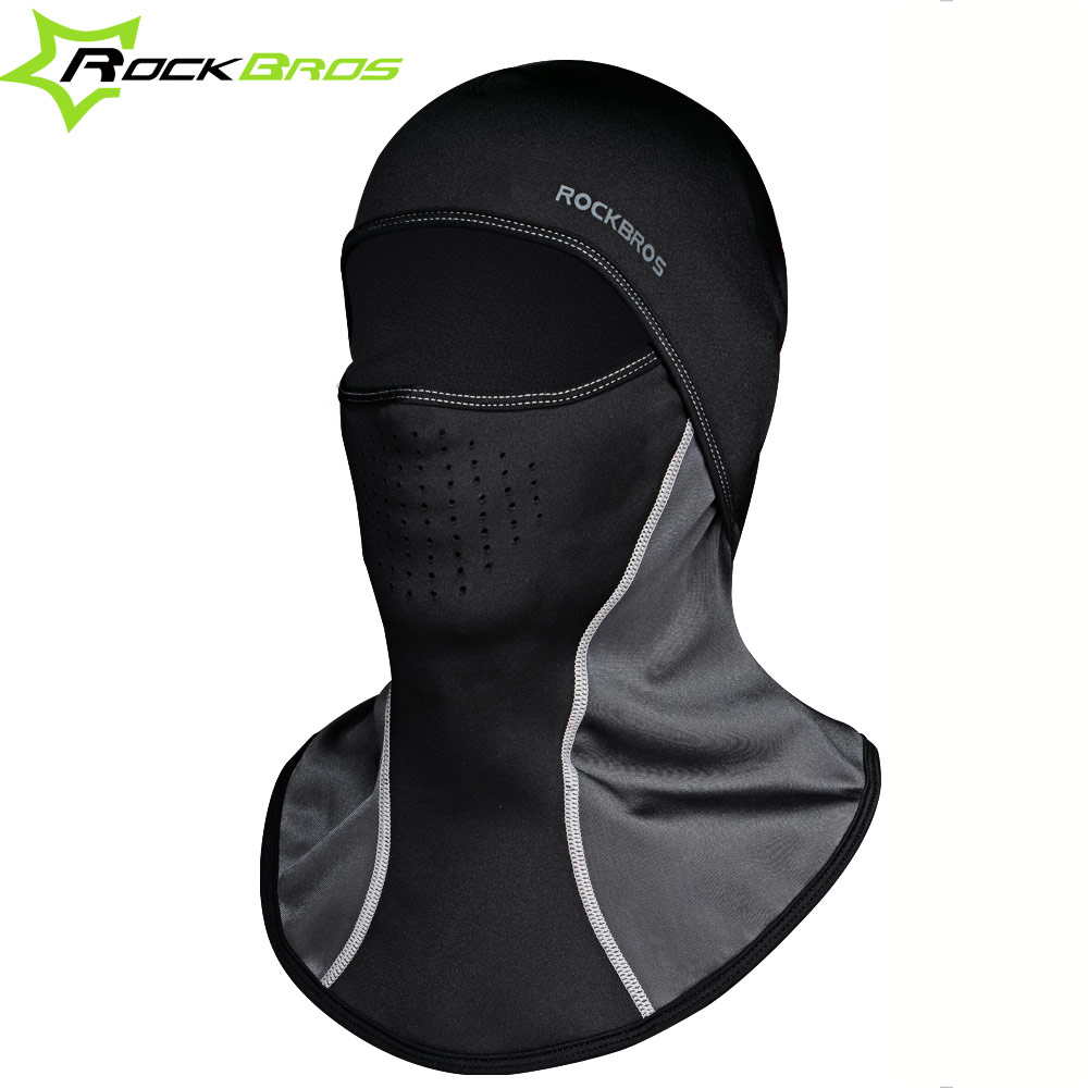 ROCKBROS Winter Thermal Bike Headwear Neck Fleece Bike Caps Scarf Balaclava Windproof Warm Mask Motorcycle Bicycle Face Shield
