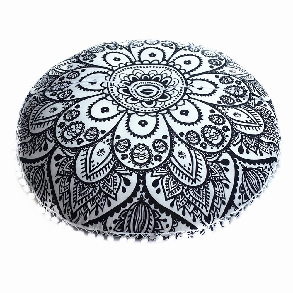 Large 80*80cm Mandala Floor Pillows Bohemian Meditation Cover Round Pouf Retro Boho Tapestry Cover Cases 1pc Py30 Power Source Solar