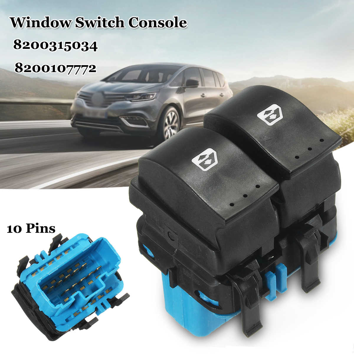 hight resolution of 10 pins electric window switch lifter switches blue brown for renault megane ii 2002