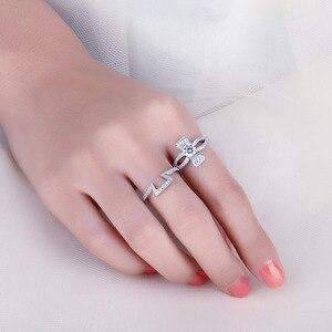 Image 4 - Jewelrypalaceラウンド 1ctキュービックジルコニアフローラリボンちょう結びスプ婚約リングセット 925 スターリングシルバージュエリーファッション