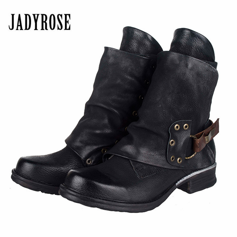 Jady Rose 2018 New Women Ankle Boots Black Short Military Boots Female Genuine Leather Botas Mujer Rubber Shoes Woman Flats