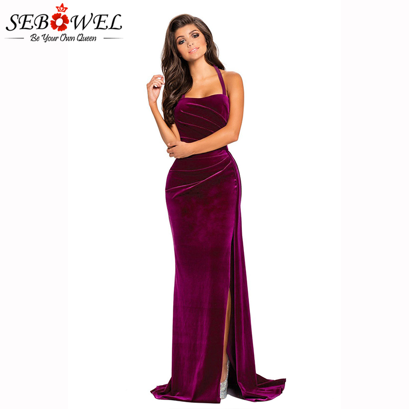 Rosy-Thigh-High-Split-Velvet-Evening-Gown-LC610993-6-1