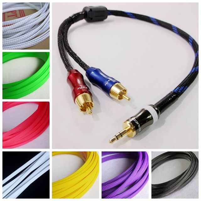 12meter Cable Sleeves 8mm Encryption PET Snakeskin mesh 3 Wire ...
