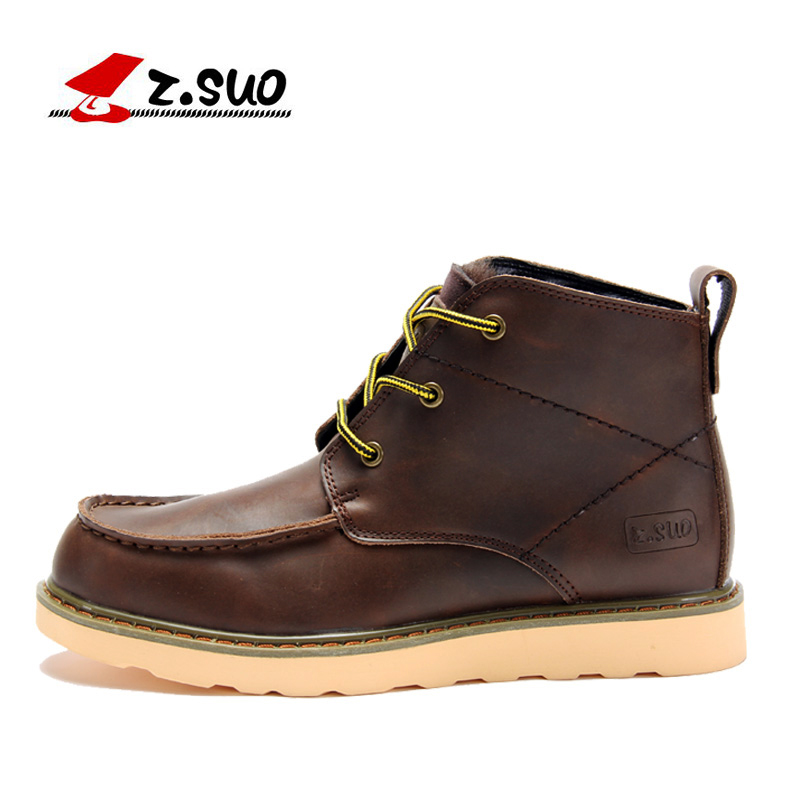 Genuine Leather Men Boots Spring/Autumn Ankle Boots Fashion Footwear Lace Up Shoes Men H ...
