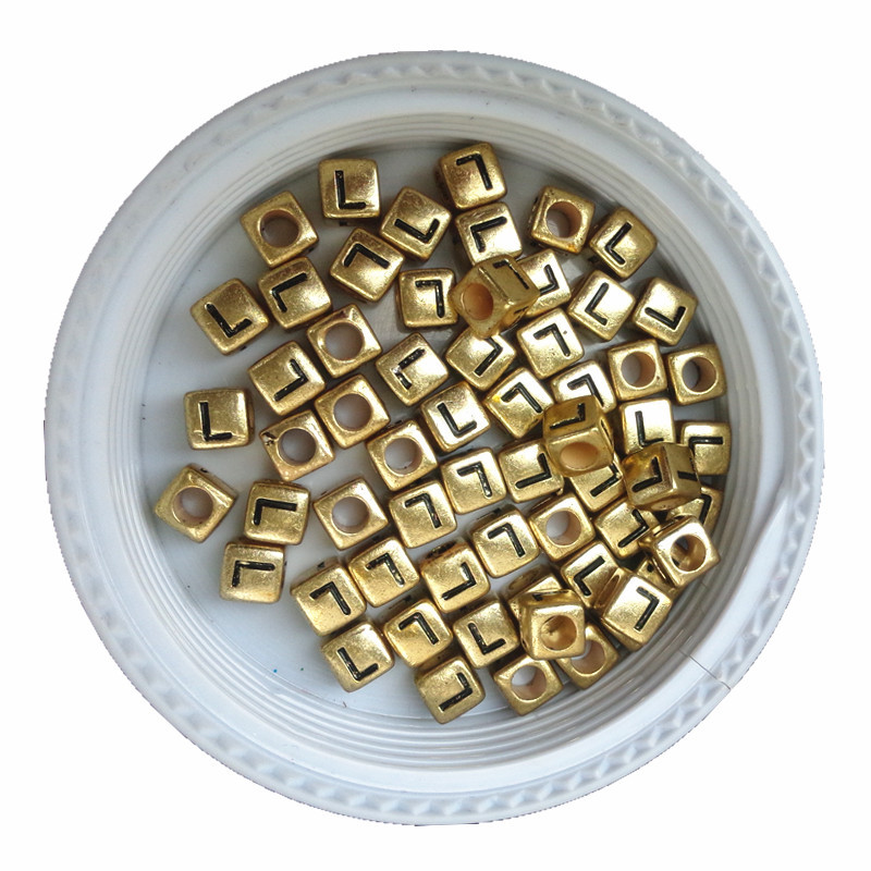 Loyal Wholesale 6*6mm Cube Gold Single Letter L Printing Big Hole Spacer Beads 2750pcs/lot Square Alphabet Plastic Bracelet Beads Comfortable And Easy To Wear Jewelry & Accessories Beads