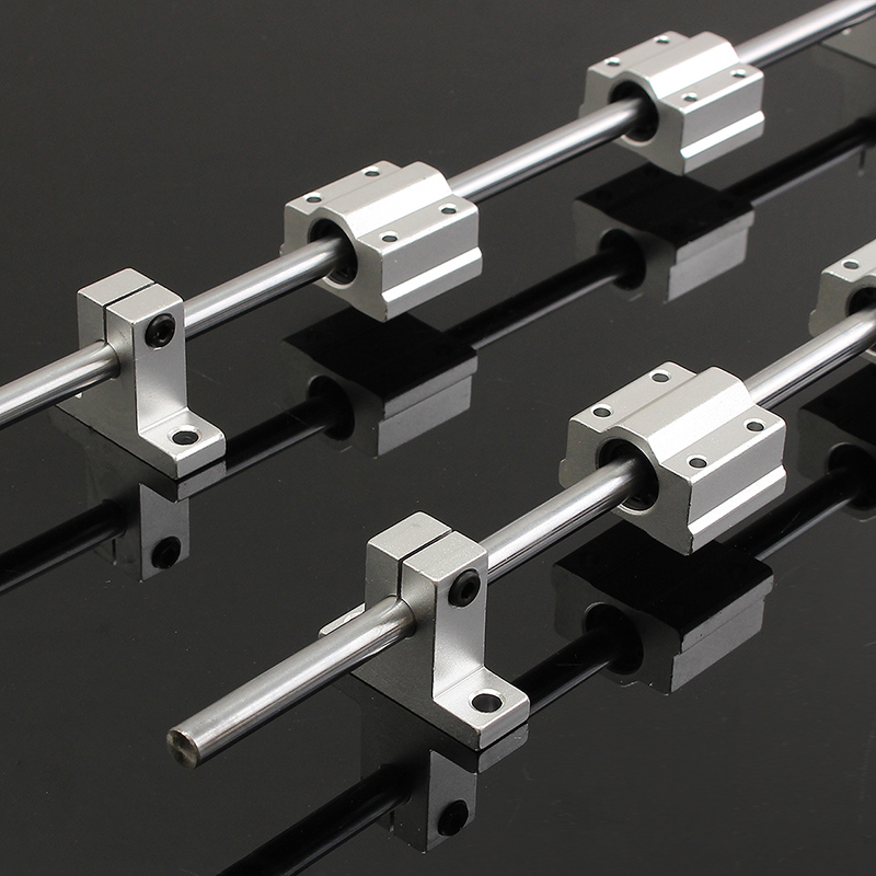 2pcs 8x400mm Linear Guide Rail Shaft With 4pcs SK8 Fixed Bearings SCS8UU Linear Bearing Aluminum Blocks