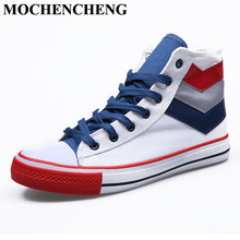 New High Top Canvas Shoes Men Sneakers Breathable Lace-up Flat Casual Shoes Classic Round Toe Retro Mixed Color Wear resistant