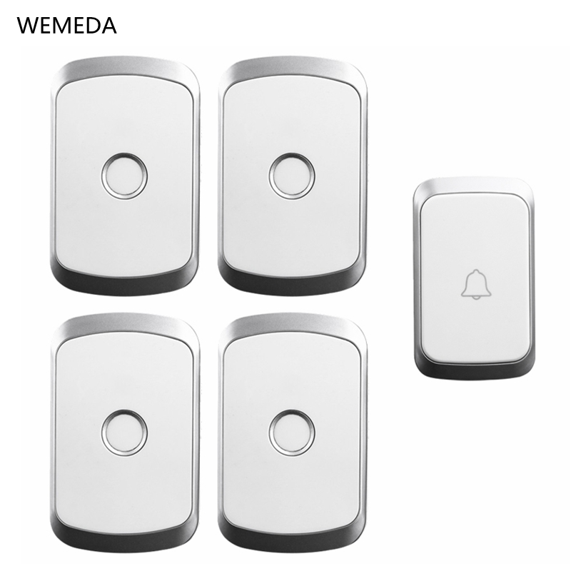 WEMEDA Smart Wireless Doorbell Waterproof 1 Push Button 4 Receiver 300M Remote Home Cordless door bell chime US EU UK PlugWEMEDA Smart Wireless Doorbell Waterproof 1 Push Button 4 Receiver 300M Remote Home Cordless door bell chime US EU UK Plug