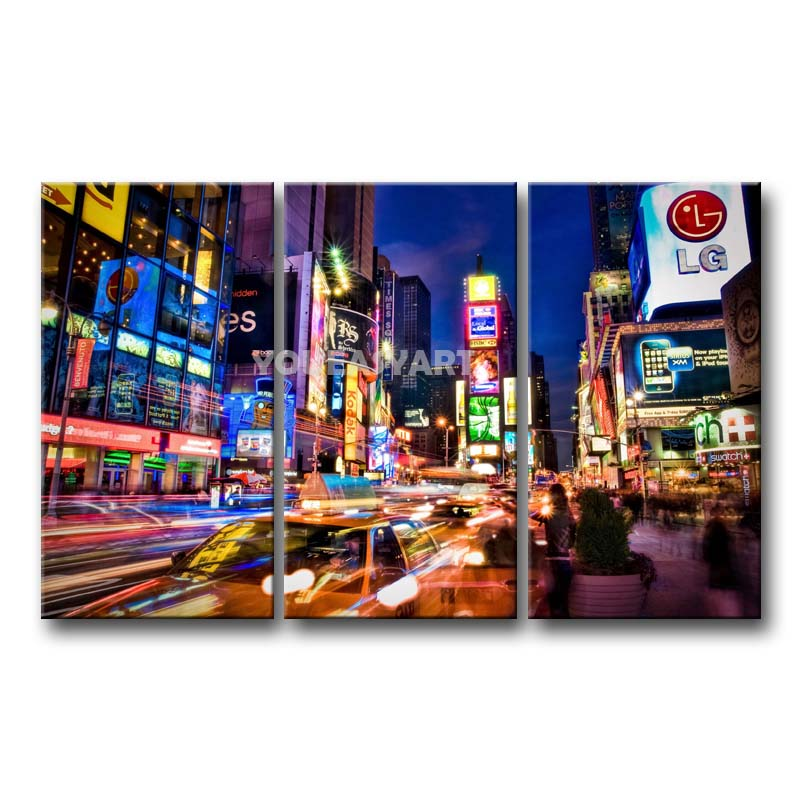 3 Piece Painting On Canvas Wall Art Nyc Street Lights New