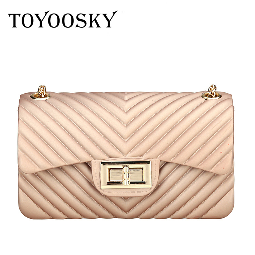 TOYOOSKY Fashion Women Jelly Bags Chain Lattice Shoulder Bag Classic PVC Quilted Small Flap Messenger Bags Ladies Beach Handbags 2017 fashion flap leather messenger bag women ladies shoulder bags sac a main small quilted chain bag women s handbags clutches