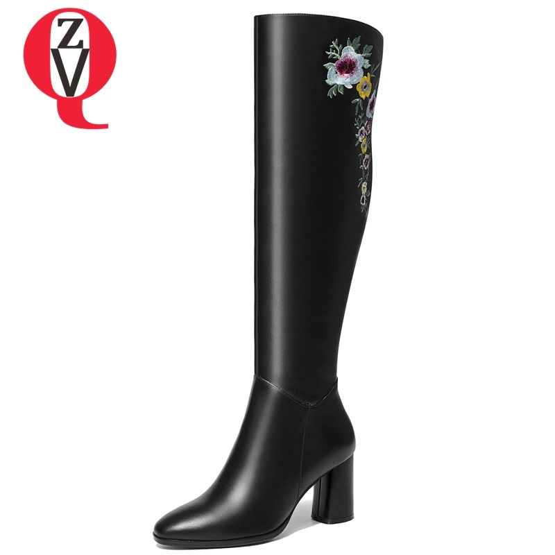 ZVQ new fashion embroider knee high boots high square heel zip square toe black beige high quality genuine leather women shoes zvq 2018 new popular kid suede embroider women shoes super high square heel pointed toe zip black winter warm over knee boots