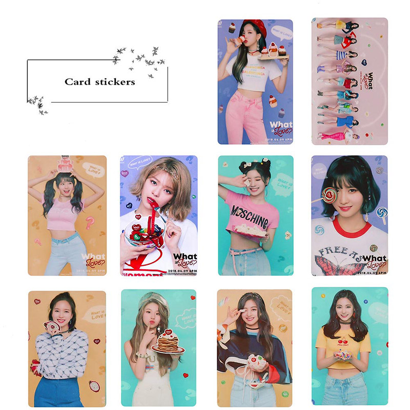 10 PCS/SET KPOP TWICE What is Love Album Sticky Crystal Photo Card Photograph HD Card Sticker Poster image
