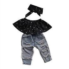 Комплекты одежды для маленьких девочек топы жилет без рукавов джинсовые штаны с дырками повязка на голову, комплект одежды из 3 предметов для маленьких девочек