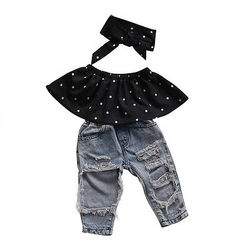 Комплекты одежды для маленьких девочек топы жилет без рукавов в горошек джинсовые штаны с дырками повязка на голову комплект одежды из 3 пре...