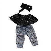 Infant Baby Girls Clothes Sets Dot Sleeveless Tops Vest Hole Denim Pants Headband 3pcs Clothing Set