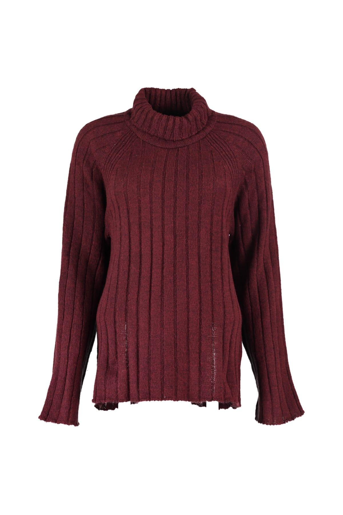 Trendyol WOMEN-Burgundy Ribbed Sweater Sweater TWOAW20ZA0043