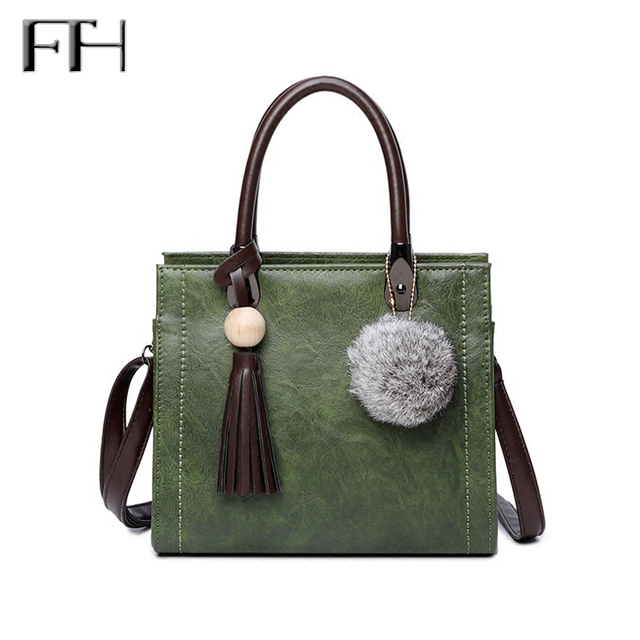 a0911482dd New Fashion Women s Leather tote Handbag with tassel pendant fur ball Female  nice cross body bags Sweet Shoulder bags for Girls