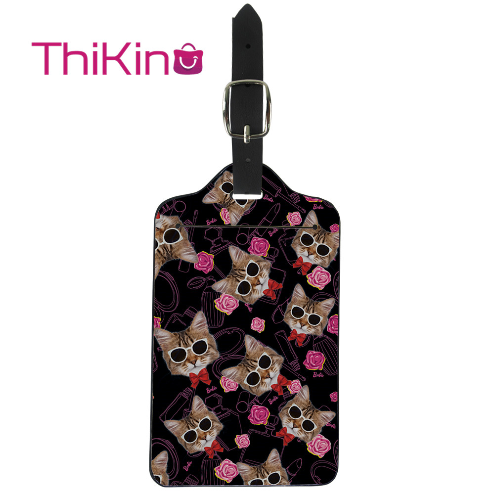 Thikin Cat Pattern  Luggage Tag Women Travel Accessories PU Suitcase ID Address Holder Baggage Boarding Tag Portable Label