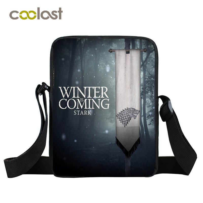 Game of Throne Shoulder Bags Boys Girls School Bags Fire and Blood Women Handbags Portable Small Bao Bao Crossbody Bags Male women school bags kawaii 3d book bags for teen boys and girls 3d jump style 2d drawing escolar mochial printed game bags fcf cb