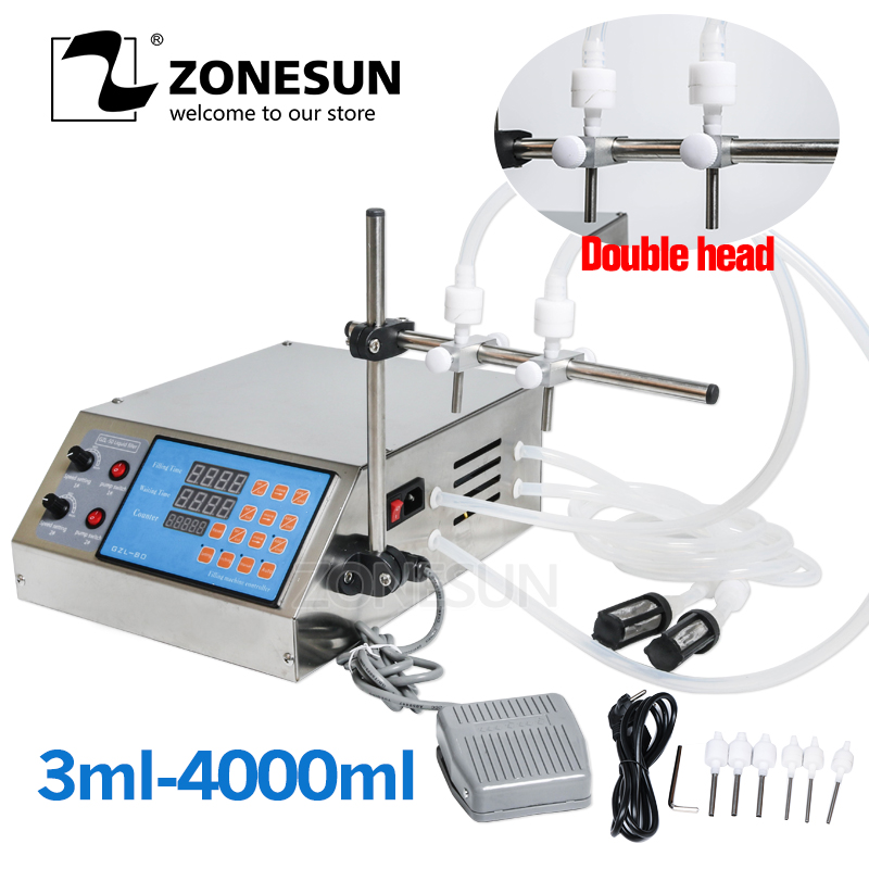 ZONESUN Electric Digital Control Pump Liquid Filling Machine 0.5-4000ml For Liquid Perfume Water Juice Essential Oil With 2 HeadZONESUN Electric Digital Control Pump Liquid Filling Machine 0.5-4000ml For Liquid Perfume Water Juice Essential Oil With 2 Head