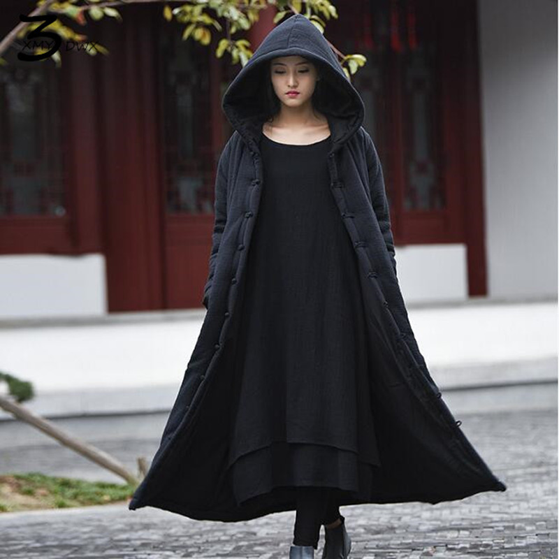 XMY3DWX Fashionable women in winter to keep warm High-grade cotton and linen longer Hooded cotton-padded clothes/femininity coat europe and the united states long sleeve hooded keep out the cold winter to keep warm and comfortable cotton coat