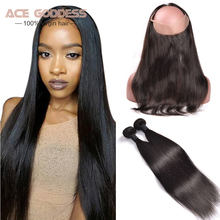 360 Lace Frontal With Bundle Straight Hair 2pcs Malaysian Virgin Hair With Frontal Closure 360 Lace