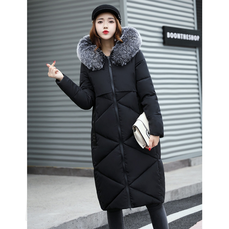 2017 NEW WOMEN WINTER JACKETS HOT SALE HOODED MEDIUM LENGTH THICKEN BIG FUR COLLAR WARM PARKAS FEMALE COAT COTTON PADDED ZL362 women winter coat leisure big yards hooded fur collar jacket thick warm cotton parkas new style female students overcoat ok238
