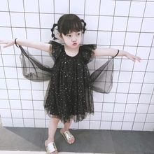 children dress 2019 summer star print girls dresses fly sleeve baby fairy dress for girl princess clothes suit 1~8age girl dress цена в Москве и Питере