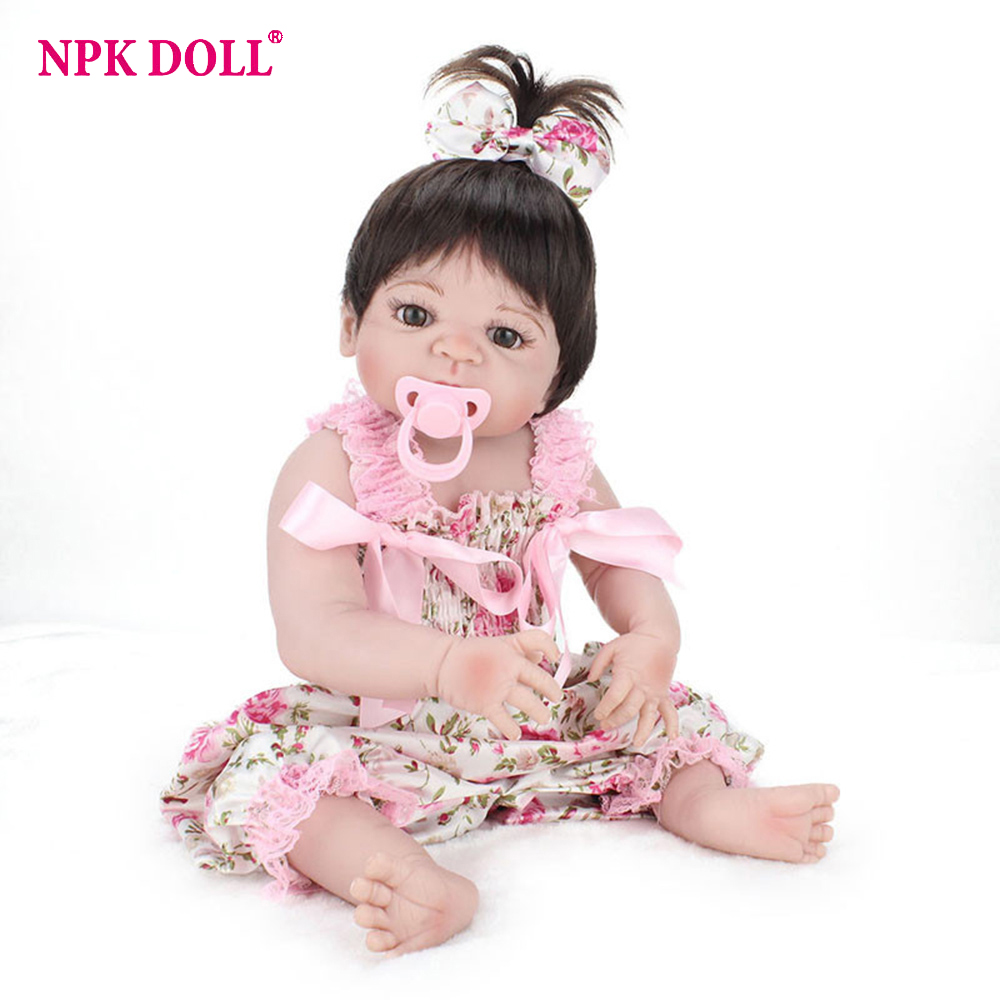 22Lifelike Silicone Bonecas Baby Dolls With Magnetic Pacifier Reborn Dolls Realistic Babies Girl Model Kids Toys Brinquedos npk 22 high quality silicone adorable lifelike bonecas baby reborn realistic magnetic pacifier bebe bjd doll reborn for girl gi