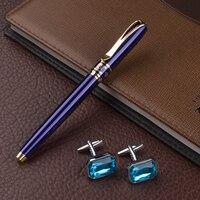 High Quality Blue Roller Ball Pen Full Metal Luxury Pens Cufflinks Office School Stationery Supplies