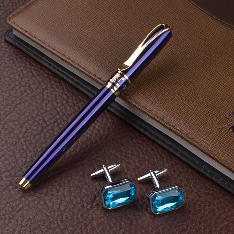 High Quality blue Business pen Office School Stationery Supplies Luxury metal Roller Ball Pen ang cufflinks high quality dikawen 891 gray gold dragon clip 0 7mm nib office stationery metal roller ball pen pencil box cufflinks for mens luxury