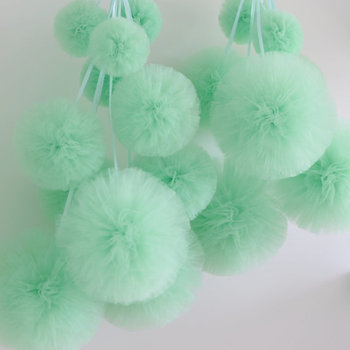 12 tulle pom pom set / wedding party decorations pom poms mint colour 20cm and 30cm