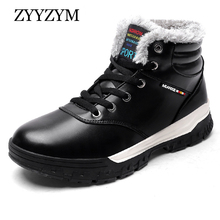 купить ZYYZYM Men Boots Leather Winter Lace-Up Ankle Outdoors Snow Boots Men Short Plush Keep Warm Men Winter Shoes Botas Hombre дешево