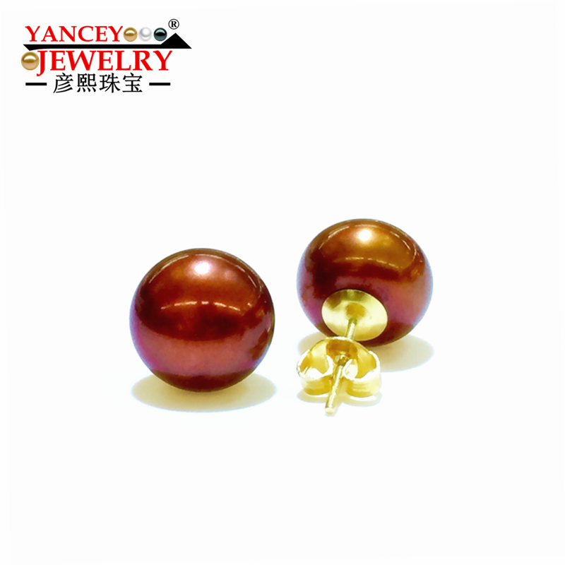 YANCEY Genuine freshwater pearl stud earring for women,Brown natural pearl earrings 9k gold girl best gift, Low price promotion 2018 new yancey original design fine pearl long tassel star luxurious drop earrings 9k gold inlay the style of the goddess