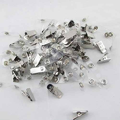 100 Pcs Metal Clips with Clear Vinyl Straps/snaps for Id Badge Holder