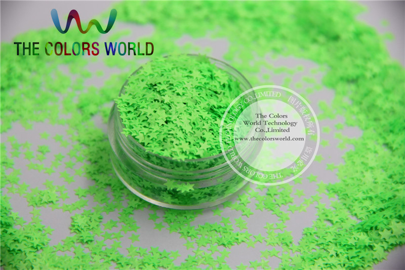 Solvent resistant Sparkles- Neon Green Color Stars-shaped Glitter Confetti for Nail Polish and DIY decoration 1Pack =50g dn2 39 mix 2 3mm solvent resistant neon diamond shape glitter for nail polish acrylic polish and diy supplies1pack 50g