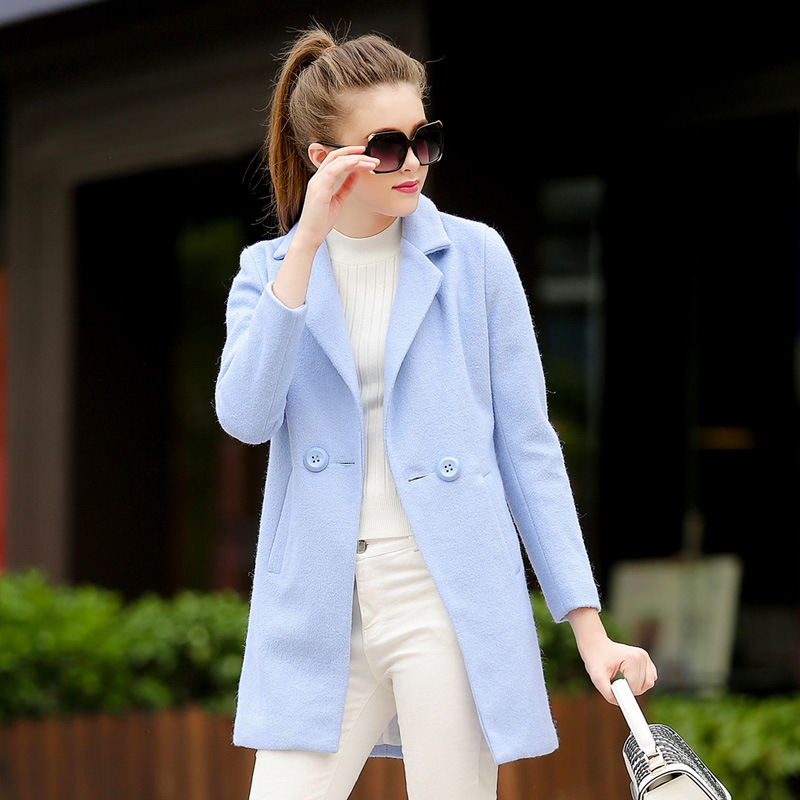 Popular Light Blue Wool Coat Women-Buy Cheap Light Blue Wool Coat ...