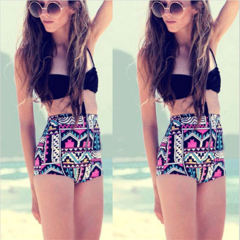 Europe and the United States swimwear Agent Provocateur geometric pattern split hanging shoulder dew cover chest was thin chest