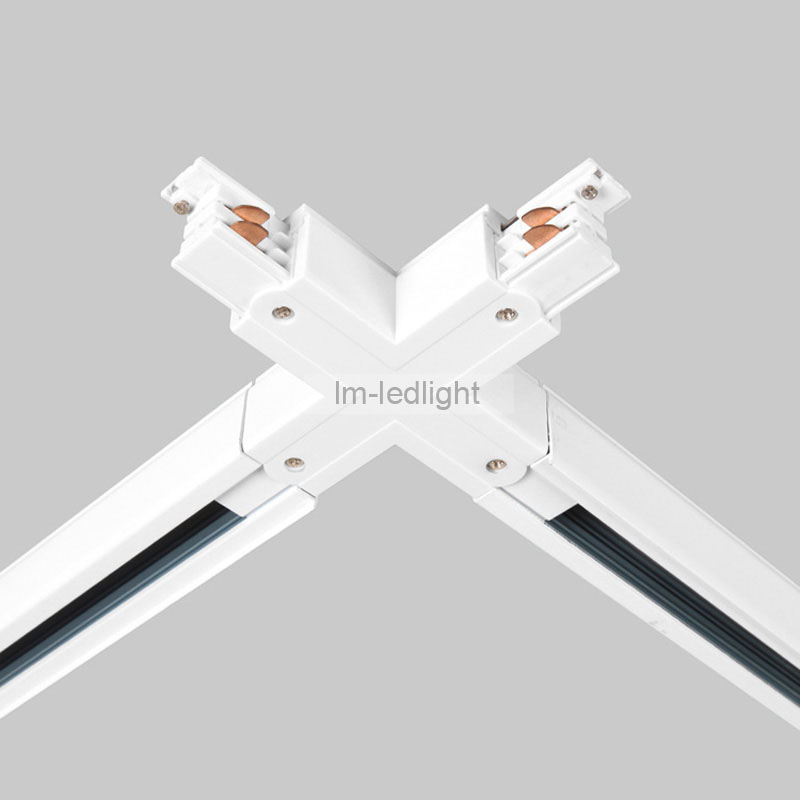 LED Track rail connector 4 wire 3 phase X connector white and black universal track lighting rail connector free ship 10pcs-in Track Lighting from Lights ... & LED Track rail connector 4 wire 3 phase X connector white and ... azcodes.com