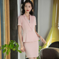 Women's suit skirt new short sleeved slim slim double breasted suit two piece suit (jacket + skirt) ladies business suit