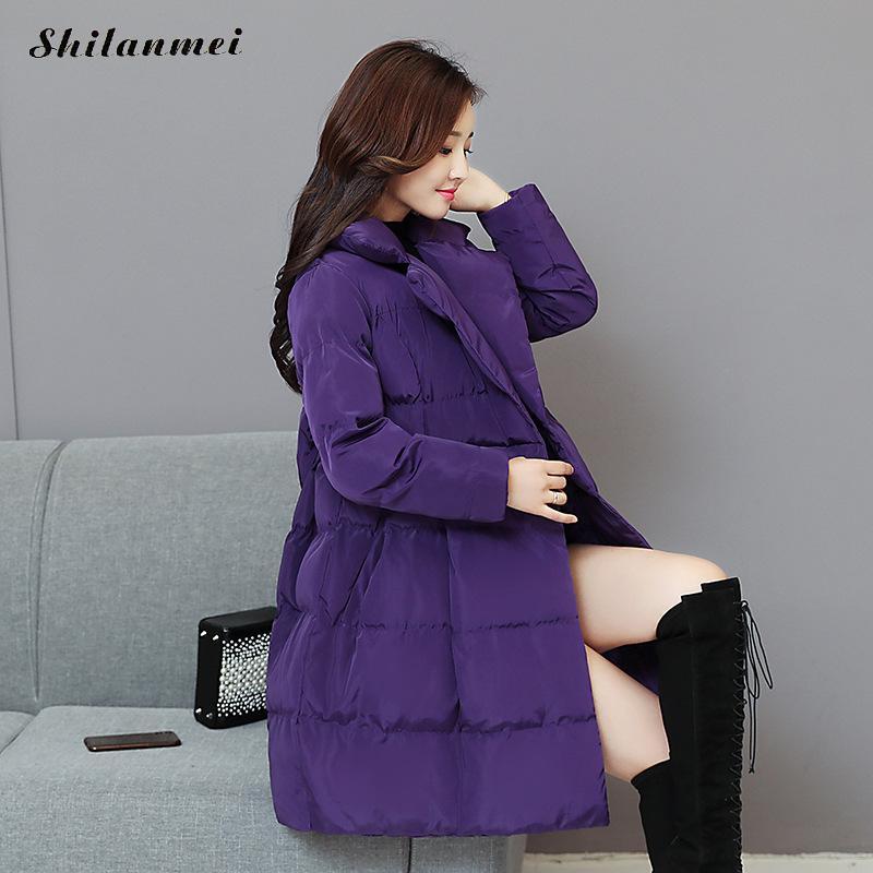 2018 Winter Woman Thicken Warm Windproof Parkas Long Sleeve Bow Plus Size 3xl Black Purple Fashion Outwear Overcoat Loose Jacket