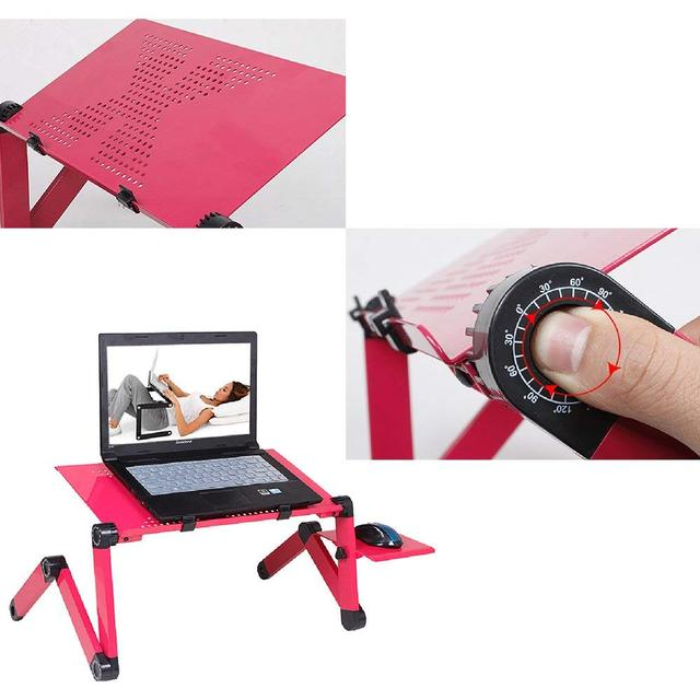 Laptop Table Stand With Adjustable Folding Ergonomic Design Stand Notebook Desk  For Ultrabook, Netbook Or Tablet With Mouse Pad 5