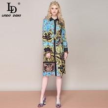 LD LINDA DELLA 2019 Spring Fashion Runway Loose Shirt Dress Womens Long Sleeve Vintage Printed Split Belted