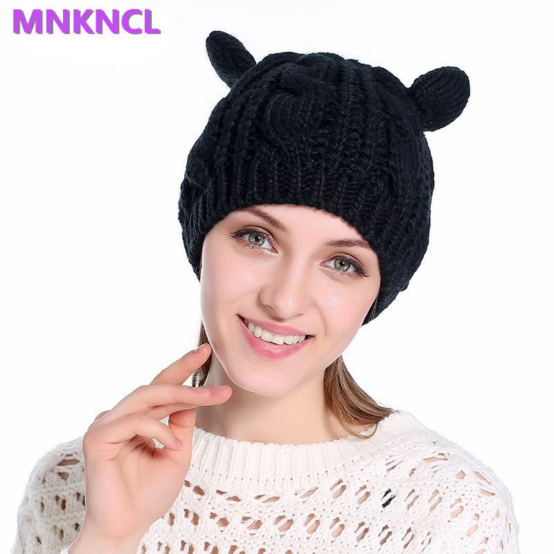 2017 New Warm Winter Hat For Women Wool Knitted Womens Cat Ears Hats Skullies Beanies Caps Female Beanies Bonnet Femme new winter male and female cartoon glasses color embroidery knitting wool hat warm hat hedging hat skullies m144