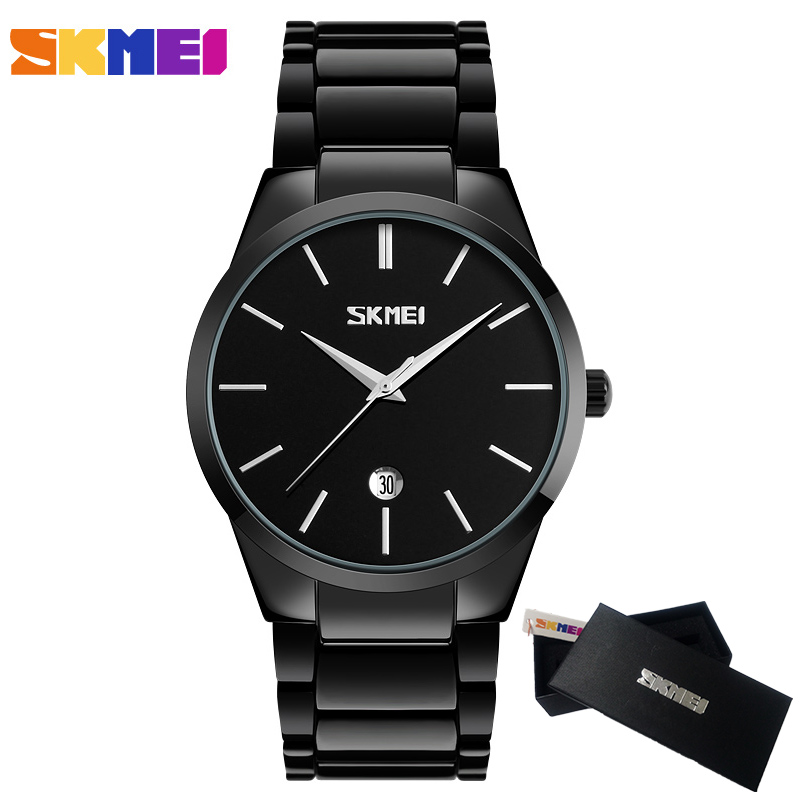 Men's Watches Top Luxury Brand SKMEI Full Stainless Steel Business Watch Men Quartz Date Clock Men Wrist Watch relogio masculino migeer relogio masculino luxury business wrist watches men top brand roman numerals stainless steel quartz watch mens clock zer