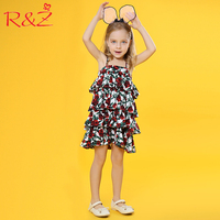 R Z Baby Girls Dress 2018 Summer New Korean Hot Sale Rose Lotus Leaf Edge Sling