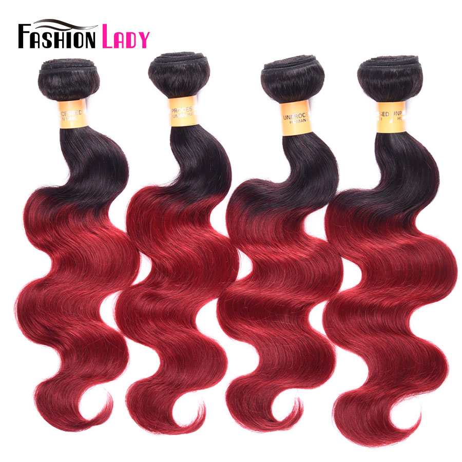 Fashion Lady Pre-Colored Peruvian Human Hair Extensions 3 Bundles Ombre Body Wave Weave Hair 1B Burgundy Non-Remy