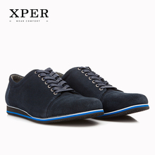 2016 Brand XPER Genuine Leather Men Casual Shoes Lace-up Breathable Black Blue Size 40~46 #YWD86506BU/BL