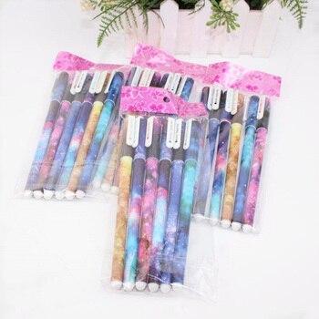 Set de 6 uds. De plumas de Gel de Color del cielo, pluma Coreana de papelería creativa y bonita estrella espacial, Material Escolar para oficina